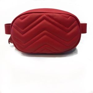 Handbags - Quilted Red Faux Leather Waist Bag  / Fanny Pack